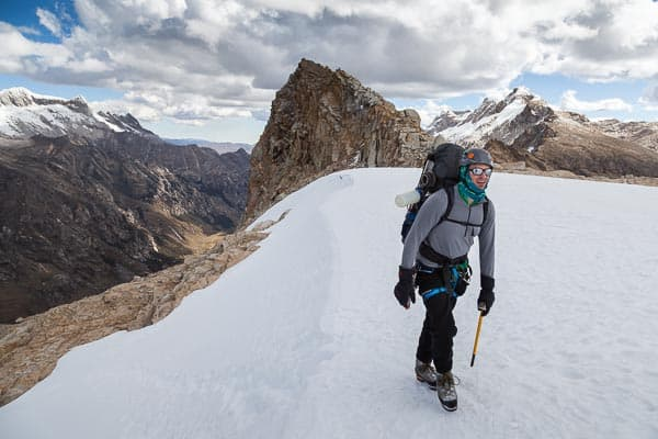 Climber reaching Tocllaraju Glacier Camp