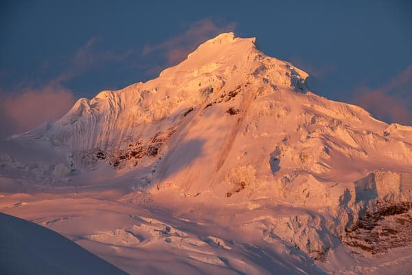 Sunset Alpenglow on the West Face of Tocllaraju