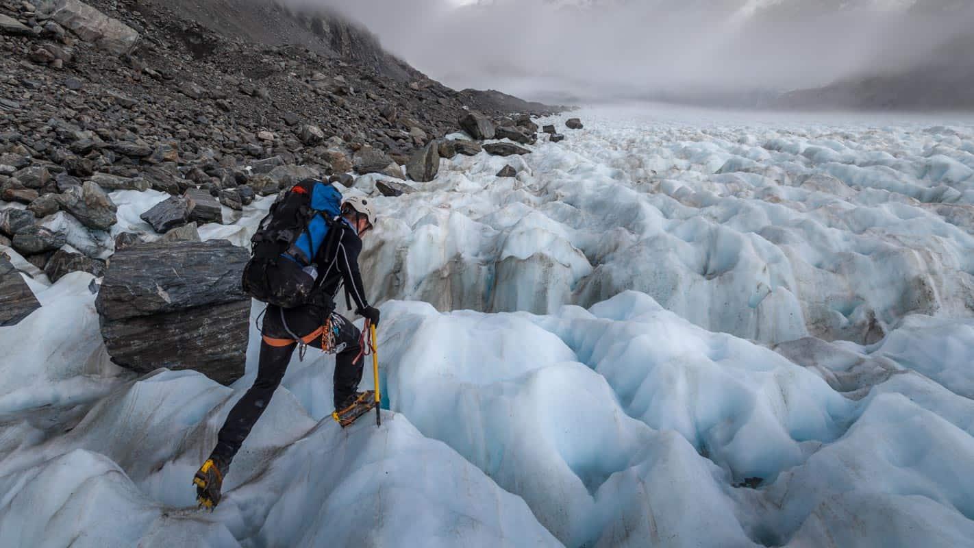 Climber descending the mid-Tasman Glacier