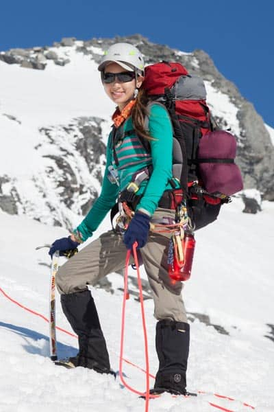Climber roped up for glacier travel