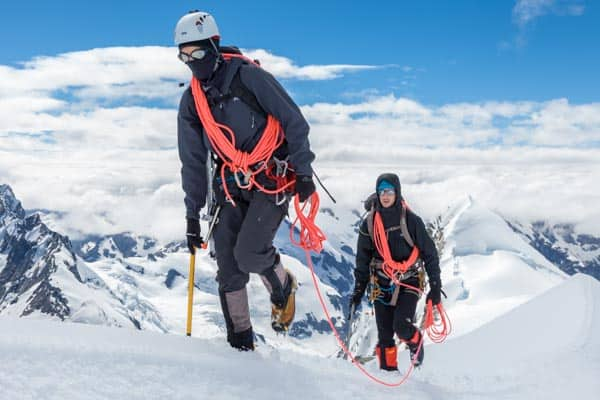 Climbers carrying coils on Hochstetter Dome