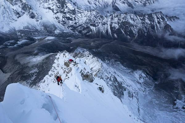 Climbing the Mushroom Ridge on Ama Dablam