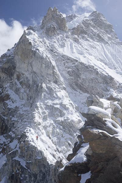 Damien below the steep couloir on Ama Dablam - nearing Camp 2