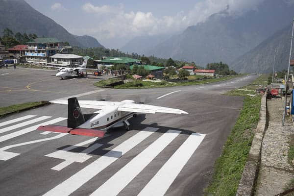 Lining up for takeoff at Lukla airport