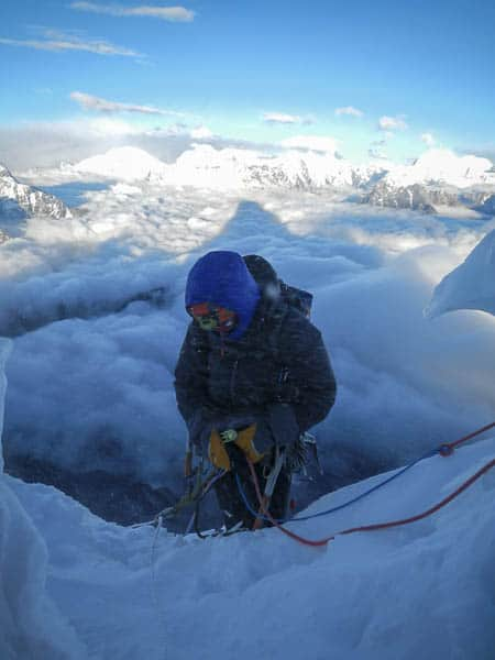Organising the abseil at 6300m. Photo copyright Damien Muller