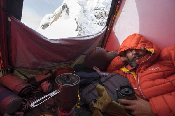 Resting at Camp 3 after a snow and static storm - Ama Dablam