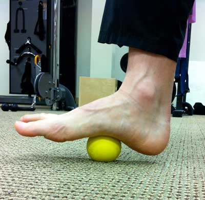 Foot with lacrosse ball