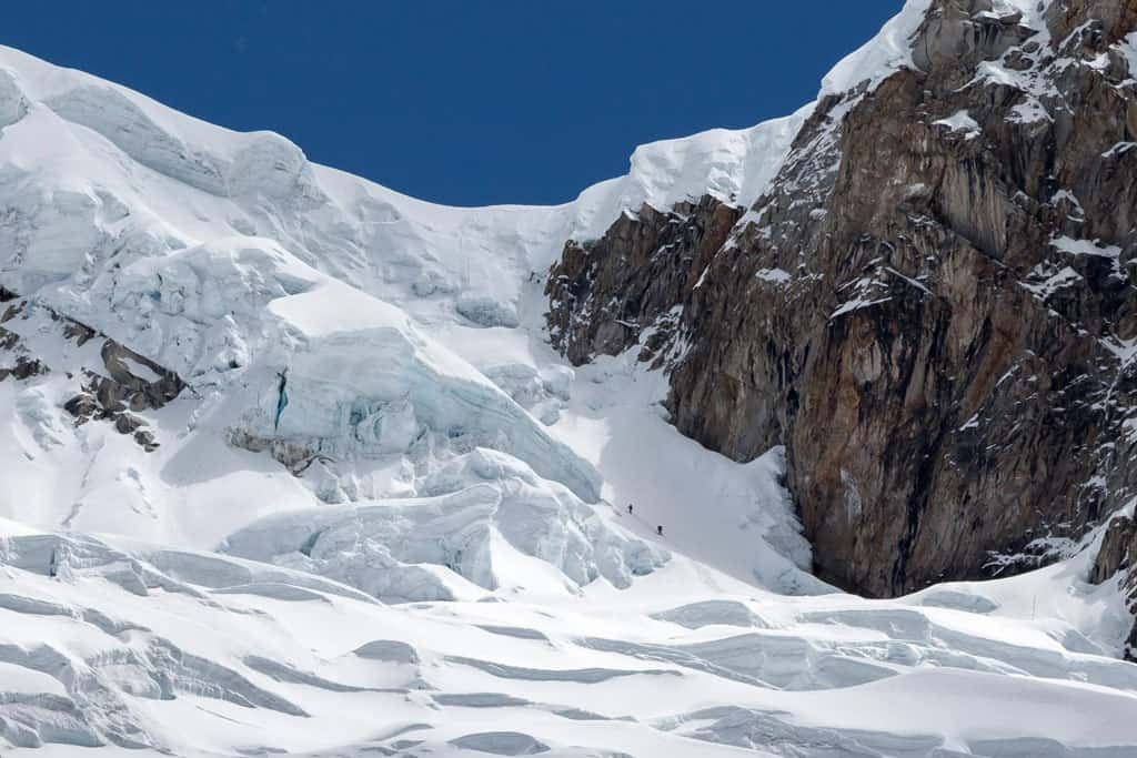 Climbers on Alpamayo Quitaraju Col